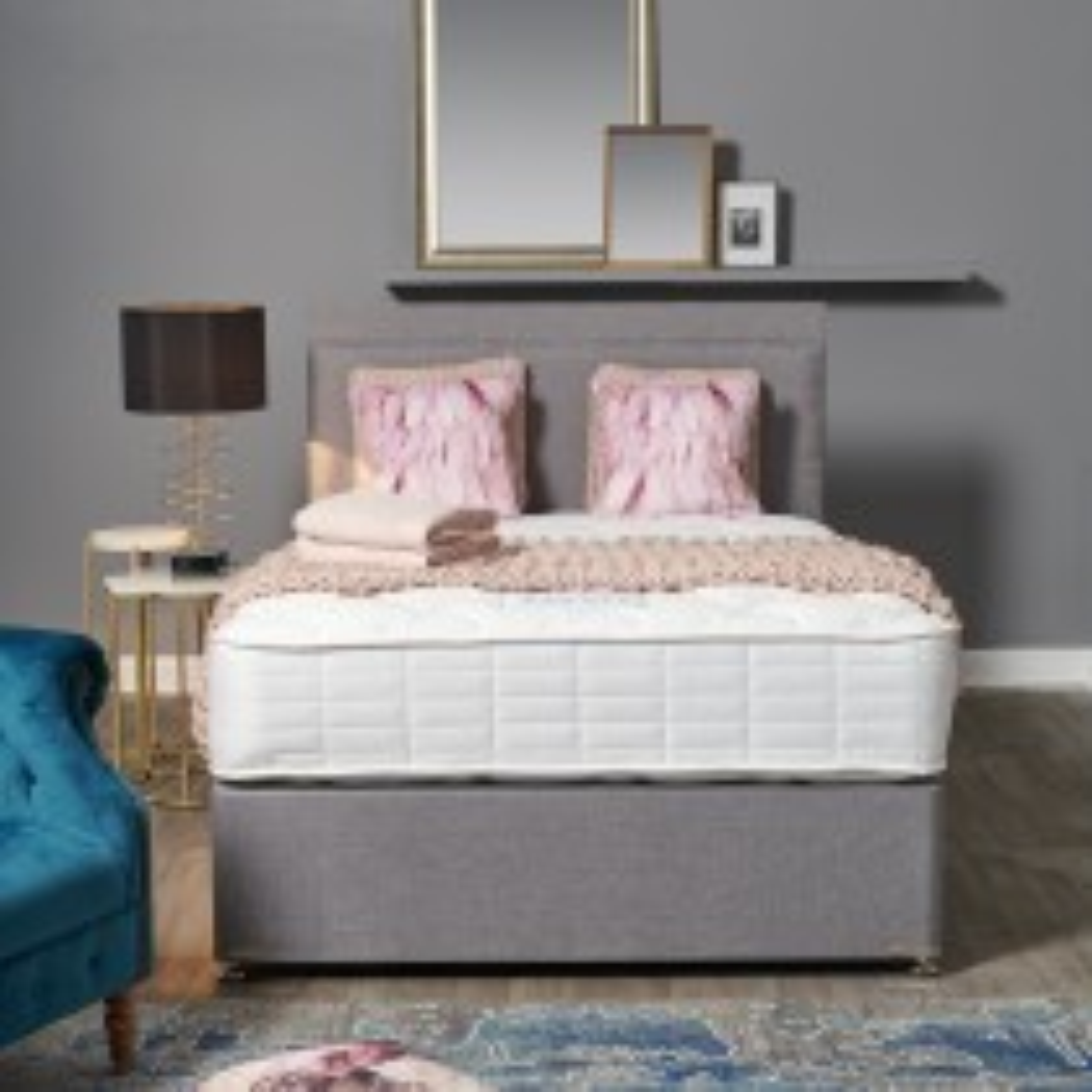 Dura Beds Garbo 2 Drawer Divan Bed Set, Double, Silver