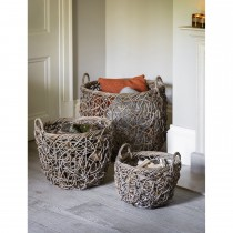 Garden Trading Set Of 3 Tangled Weave Baskets, Rattan