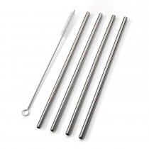 Smidge Reusable Straw And Brush 4 Piece Set, Stainless Steel