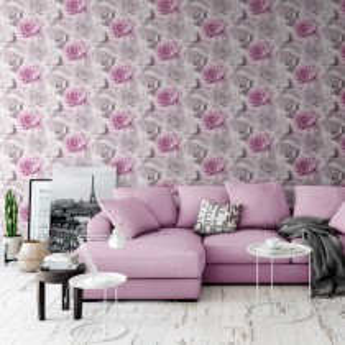 Muriva Madison Wallpaper, Pink