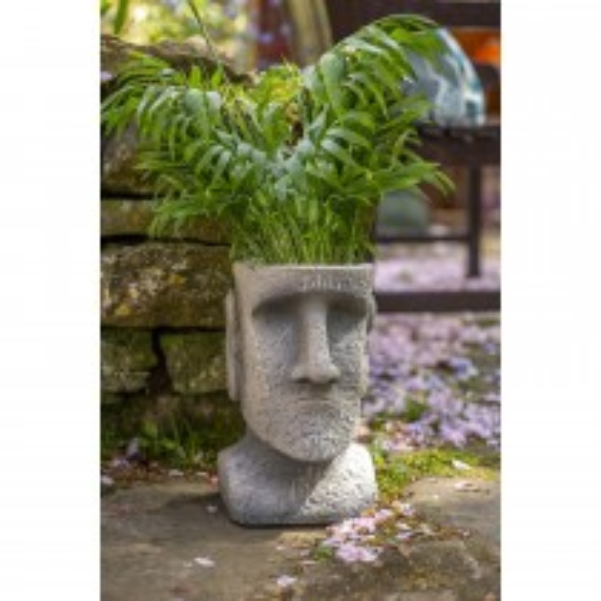 La Hacienda Easter Island Head Planter Medium, Stone
