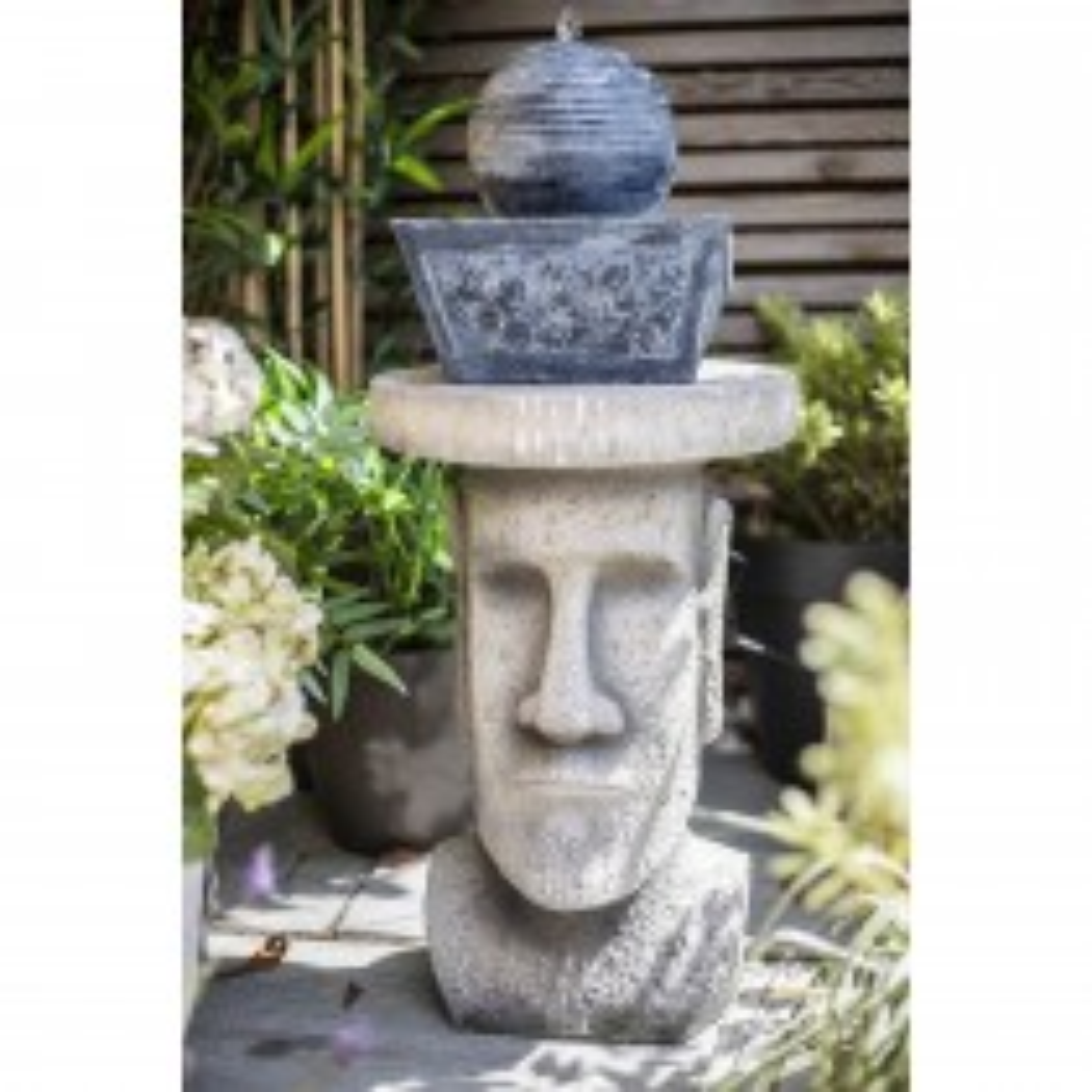 La Hacienda Easter Island Head Plant Stand, Stone