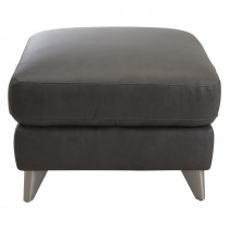 Casa Maya Leather Footstool, Rangers Charcoal