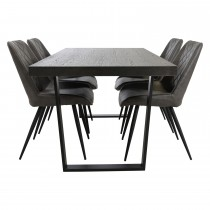 Casa Harrow Table & 4 Leather Chairs Dining Set
