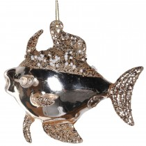 Coach House Glitter Fish Bauble, Gold