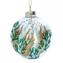 Gisela Graham Clear Glass Seaweed Bauble, Clear