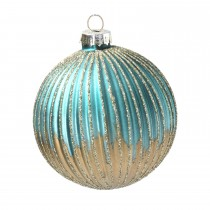 Gisela Graham Ribbed Glass Ball Bauble, Turquoise