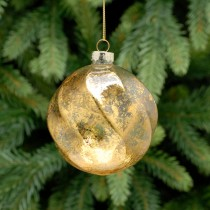 Festive Frosted Ridged Swirl Bauble, Gold
