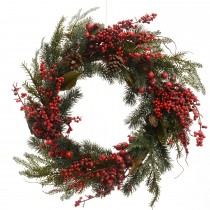 Kaemingk Deco Wreath With Berries & Pinecones