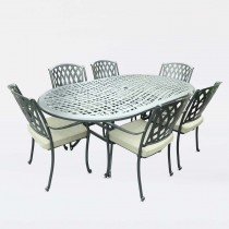 Bramblecrest Madrid 6 Seater Garden Dining Set , Black