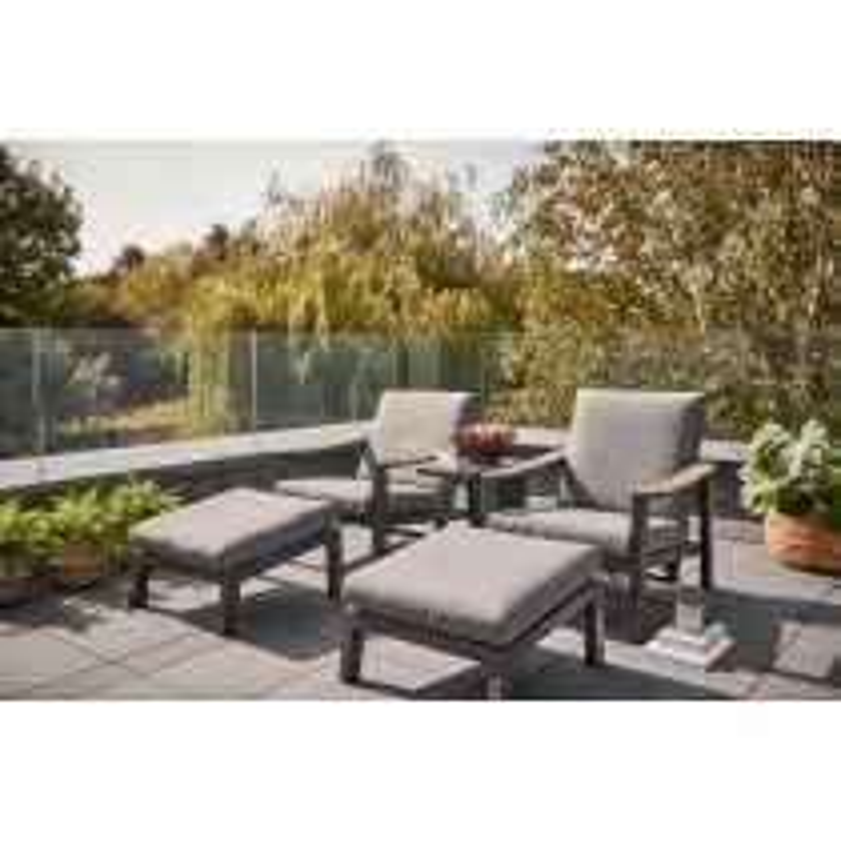Kettler Elba Relaxer & Footstool, Grey/ Wood