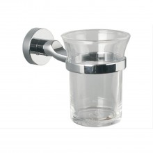 Miller Bond Tumbler Holder Clear Glass Chrome Finish