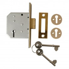 Yale 3 Lever Dead Lock 2.5'', Polished Brass