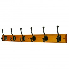 Headbourne 6 Ball End Hat & Coat Hooks Black on an Antiqued Pine Stepped Board