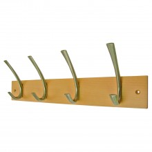 Headbourne 4 Large Modern Hooks on Solid Beech Coat Rack