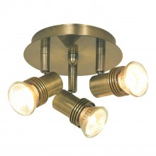 Decco Triple Spot Light, Antique Brass