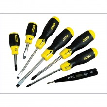 Stanley Set of 6 Cushion Grip Screwdrivers + Voltage Tester