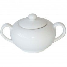 Casa White Covered Sugar Pot
