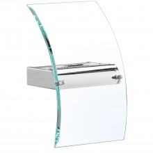 Square Curved Glass Wall Light, Chrome