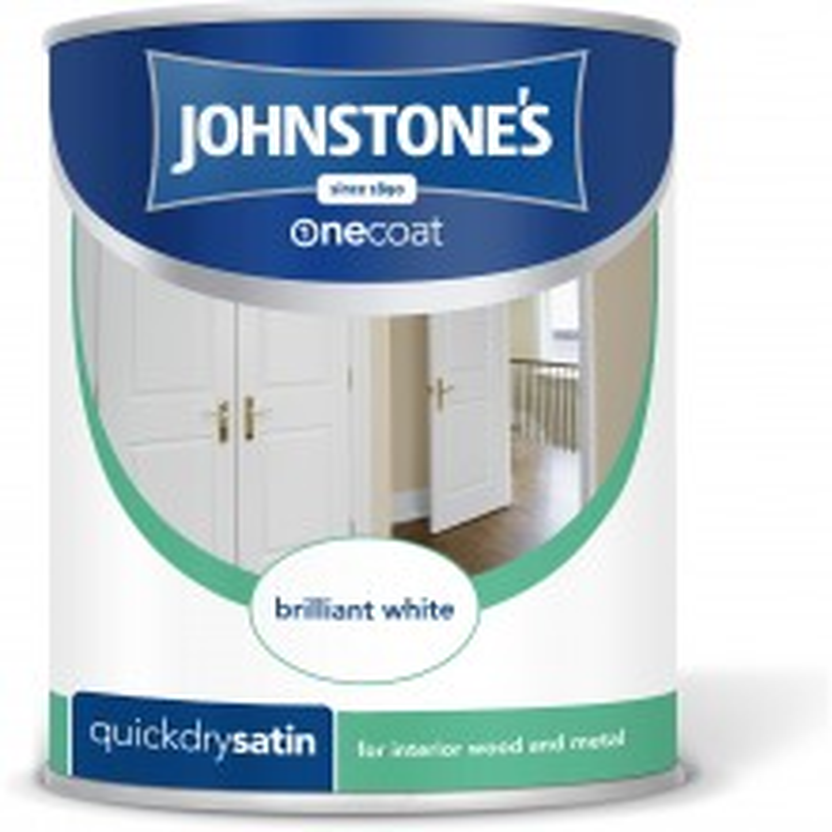 Johnstones 750ml One Coat Satinwood, Pure Brilliant White Paint