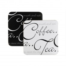 Script Set of 4 Coasters Black & White