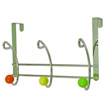 Headbourne 3 Coloured Ball End Hooks Over The Door Hanger