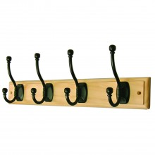 Headbourne 4 Ball End Hat & Coat Hooks On Pine Board
