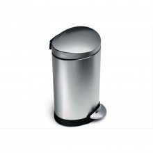 Simplehuman 6 Litre Semi Round Pedal Bin, Brushed Steel