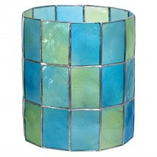 Capiz Shell Cylinder Ceiling Shade, Teal