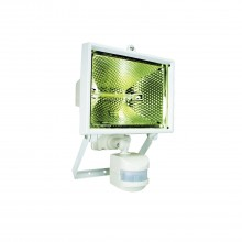 Halogen Floodlight With Motion Detector, White