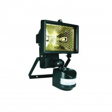 Halogen Floodlight With Motion Detector, Black