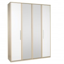 Casa Zara Tall 4 Door Bi-Fold Wardrobe With Lights