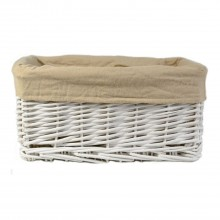 Casa Willow Rectangular Storage Basket, White