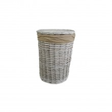 Casa Willow Round Basket, Small, White