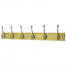 Headbourne 6 Ball End Hat and Coat Hook Rail on a Pine Stepped Board