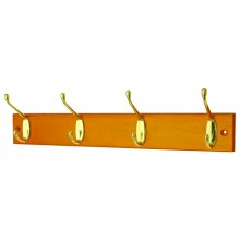 Headbourne 4 Polished Brass Hat & Coat Hooks On Slimline Antique Pine Board