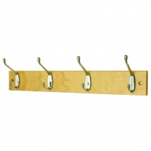 Headbourne 4 Hat And Coat Hooks On Slimline Pine Board