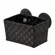 Wenko Fermo Static-loc Bathroom Basket, Black