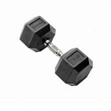 York 15kg Rubber Hex Dumbbell, Black