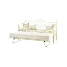 Casa Florence Single Day Bed With Guest Bed, Gloss Ivory
