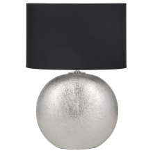 Circle Ceramic Table Lamp, Silver & Black