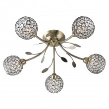 Mirren 5 Light Flush, Antique Brass