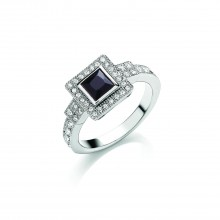 Buckley London Rhodium Deco Sparkle Ring L