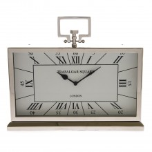 Casa Trafalgar Square Table Clock, Silver