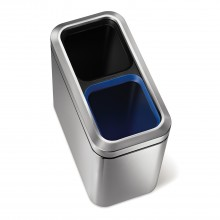Simplehuman 10/10 Litre Bin, Brushed Steel