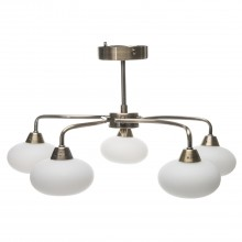 Lovato 5 Light Ceiling Fitting, Antique Brass