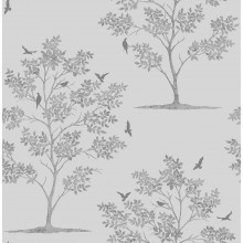 Fine Decor Trees & Birds Wallpaper Stone / Silver