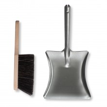 Garden Trading Galvanised Dustpan & Brush, Silver
