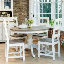 Casa Cotswold Circular Table & 4 Wooden Chairs