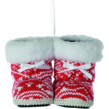 Festive Knitted Fur Boots Hanging Decoration